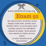 Enam 92 Kuran sadece Mekke halkına mı göderildi?