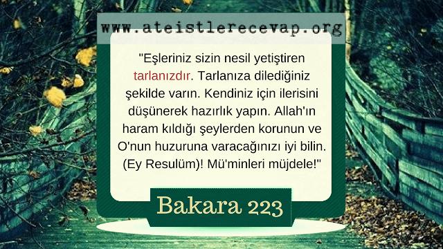 """Bakara 223 """"Eşleriniz sizin nesil yetiştiren tarlanızdır."""" ayetini açıklar mısınız?"""